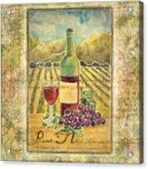 Vineyard Pinot Noir Grapes N Wine - Batik Style Acrylic Print