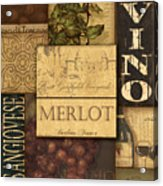Vino Collage Acrylic Print by Grace Pullen