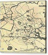Vintage 1692 Map Of Salem Massachusetts - 1866 Acrylic Print