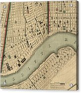 Vintage 1840s Map Of New Orleans Acrylic Print