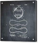 Vintage 1928 Baseball Patent Chalk Acrylic Print
