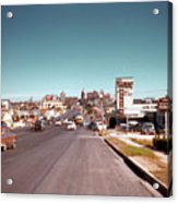 Vintage 1950s View Of Congress Avenue Looking North From South Congress To The Capitol Acrylic Print