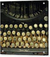 Vintage Antique Typewriter - Text Me - Antique Typewriter Keys Print Black And Gold Acrylic Print