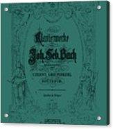 Vintage Bach Piano Book Cover Acrylic Print