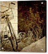 Vintage Bicycle In Winter. Acrylic Print