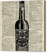 Vintage Bottle Of Rum Over Antique Book Page Acrylic Print
