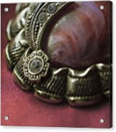 Vintage Brooch With Red Gem Acrylic Print