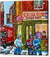 Vintage Candy Store Classic Coca Cola Truck Winter Scene Hockey Art Canadian Art Carole Spandau      Acrylic Print