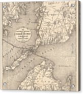 Vintage Cape Cod Old Colony Line Map  Acrylic Print
