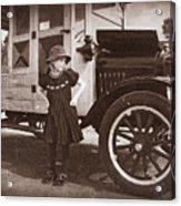 Vintage Car And Old Fashioned Girl Acrylic Print by Shawna Mac