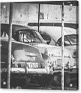 Vintage Cars At Night Bw Acrylic Print