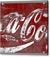 Coca Cola Red And White Sign Gray Border With Transparent Background Acrylic Print