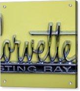 Vintage Corvette Sting Ray Emblem Acrylic Print