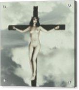 Vintage Crucified Woman Acrylic Print