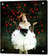 Vintage Dancer Series Raining Rose Petals  Acrylic Print by Cindy Singleton