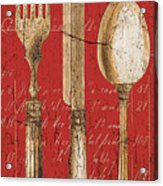 Vintage Dining Utensils In Red Acrylic Print