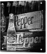 Vintage Dr Pepper In Black And White Acrylic Print