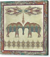 Vintage Elephants Kashmir Paisley Shawl Pattern Artwork Acrylic Print