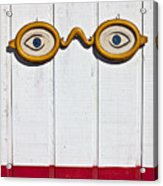 Vintage Eye Sign On Wooden Wall Acrylic Print