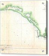 Vintage Florida Panhandle Coastal Map - 1852 Acrylic Print
