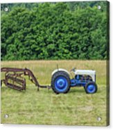 Vintage Ford Blue And White Tractor On A Farm Acrylic Print