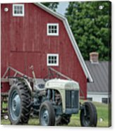 Vintage Ford Farm Tractor With Red Barn Acrylic Print