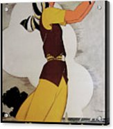 Vintage French Art Deco Woman Golfer, Flapper Woman Golfing Acrylic Print