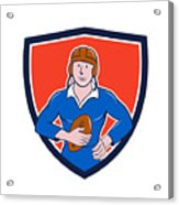 Vintage French Rugby Player Holding Ball Crest Cartoon Acrylic Print