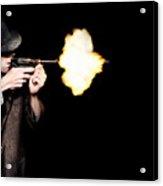 Vintage Gangster Man Shooting Gun On Black Acrylic Print