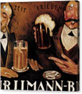 Vintage German Beer Advertisement, Friends Drinking Bier Acrylic Print