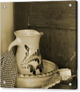Vintage Grooming Set And Stoneware Water Pitcher In Sepia Tones Acrylic Print