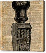 Vintage Handstamp Illustation Over Old Book Page Acrylic Print