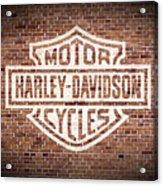 Vintage Harley Davidson Logo Painted On Old Brick Wall Acrylic Print