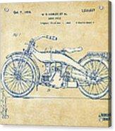 Vintage Harley-davidson Motorcycle 1924 Patent Artwork Acrylic Print by Nikki Smith