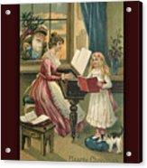 Vintage Hearty Christmas Postcard Acrylic Print
