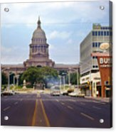 Vintage July 1968 View Looking Up Congress Avenue To The Texas State Capitol Acrylic Print
