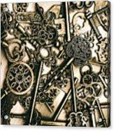 Vintage Keys On Wooden Table Acrylic Print