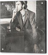 Vintage Man In Hat Smoking Cigarette In Jazz Club Acrylic Print