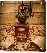 Vintage Manual Grinder And Coffee Beans Acrylic Print