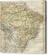 Vintage Map Of Brazil - 1889 Acrylic Print
