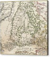 Vintage Map Of Finland - 1740s Acrylic Print