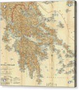Vintage Map Of Greece - 1894 Acrylic Print