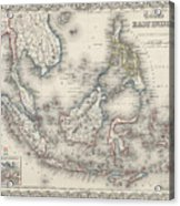 Vintage Map Of Indonesia And The Philippines Acrylic Print
