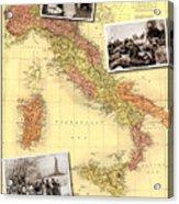 Vintage Map Of Italy Genealogy Map Acrylic Print