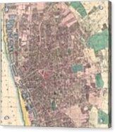 Vintage Map Of Liverpool England  Acrylic Print