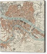 Vintage Map Of Lyon France - 1888 Acrylic Print