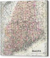 Vintage Map Of Maine  Acrylic Print