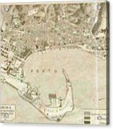 Vintage Map Of Messina Italy - 1900 Acrylic Print
