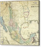 Vintage Map Of Mexico - 1847 Acrylic Print