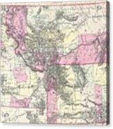 Vintage Map Of Montana, Wyoming And Idaho  Acrylic Print